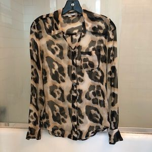 Equipment Silk Chiffon Sheer Leopard Print Blouse